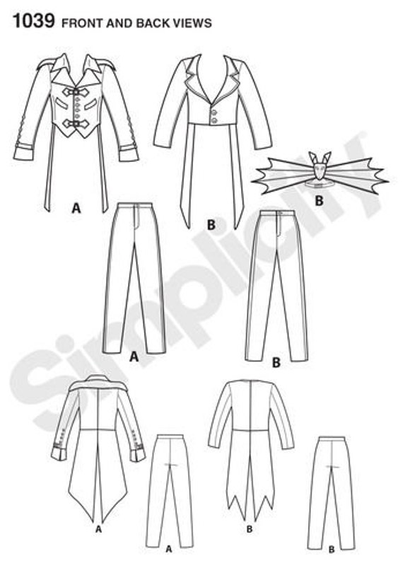 Mens Steampunk Costume Simplicity 1039 / S0235 Sewing   Etsy