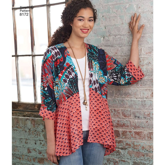 Womans Kimono Jacket Simplicity 8172 Misses\' Kimonos | Etsy