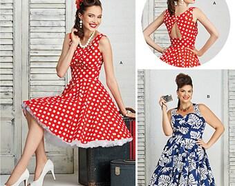 Retro Rockabilly Dress - Vintage Style Dress Pattern -  Simplicity 8051 - UNCUT - Sizes: 10 -12 -14 -16 -18 or 20w -22w -24w -26w -28w