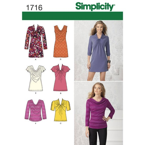 OOP Misses\' Knit Tops & Mini Dress Sewing Pattern Sizes 4   Etsy
