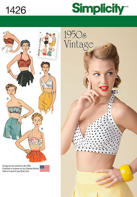 Simplicity Sewing Pattern 8645 Women's Vintage 50s Halterneck Tops