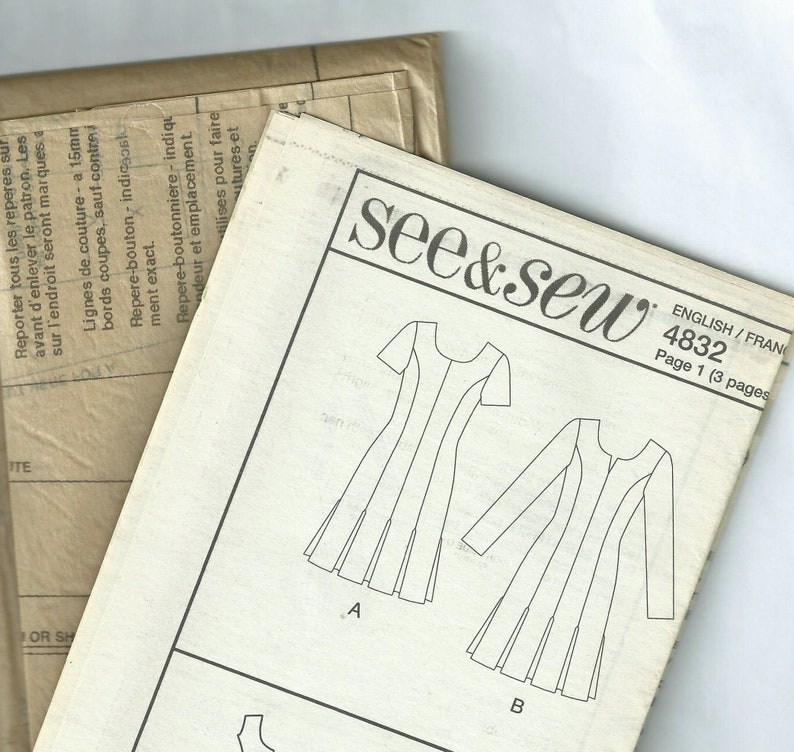 Easy Dress Sewing Pattern, Size: 8 -10 12 -14, OOP See & Sew B4832 Sewing  Pattern, Princess Seamed Dress, UNCUT