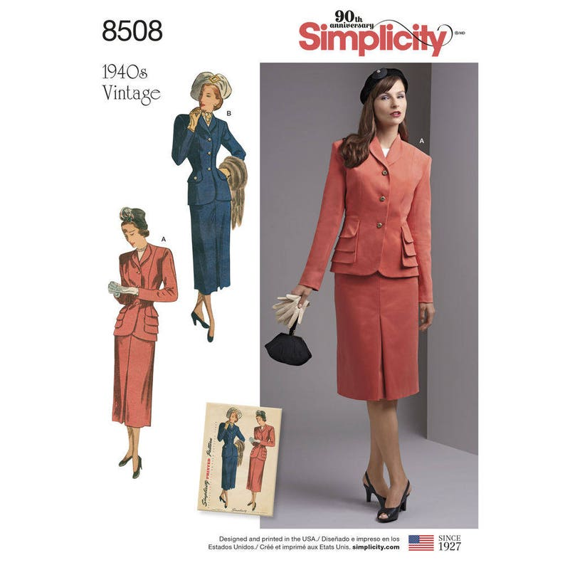 Retro Misses\' & Plus Size 1940\'s Vintage 2- Piece Suit with Lined Jacket-  Simplicity 8508 Sewing Pattern, UNCUT Sizes 10 - 18 or 20w -28w