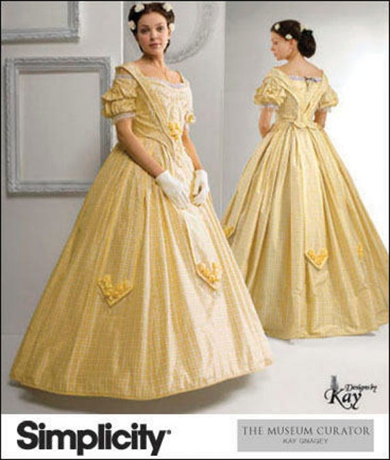 OOP Historical Civil War Dress Costume 1860's, Sizes: 16 -18 -20 -22 -24,  Simplicity 2881 Museum Curator Sewing Pattern - FF UNCUT Ball Gown