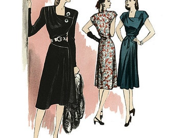 Retro Misses' 1946's Vintage Dress - Butterick B5281 Sewing Pattern - US Sizes 6 -8 -10 -12 or 14 -16 -18 -20 -22
