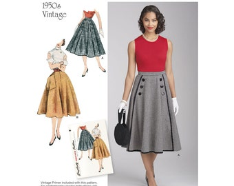 Vintage 1950s Flared Skirt Sewing Pattern, Simplicity 8458 Sewing Pattern, Size:6 -8 -10 -12 -14 or 16 -18 -20 -22 -24
