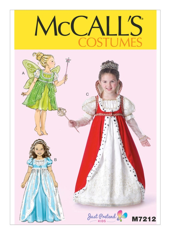 McCalls SEWING PATTERN M7673 Childrens//Girls Princess Costumes 3-6 Or 7-14