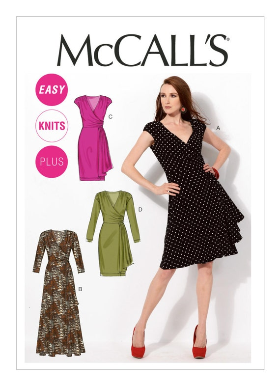 McCalls M6713 Sewing Pattern, Easy Mock Wrap Dress Pattern in Two Lengths and Sleeve Variations US Sizes: 8 16 or 18w 24w, Maxi Dress