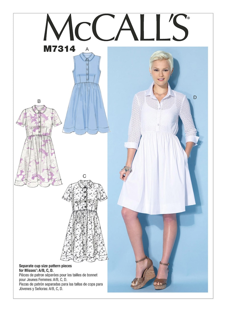 McCALL/'S PATTERN DRESS 4 DESIGNS FITTED BODICE UNCUT SIZE 6-14 or 14-22 # M7314