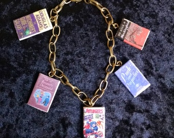 Design Your Own Book Bracelet  -  Start with any 3 book titles and add up to 12 more for a total of 15 books per bracelet  -  Book Bracelet