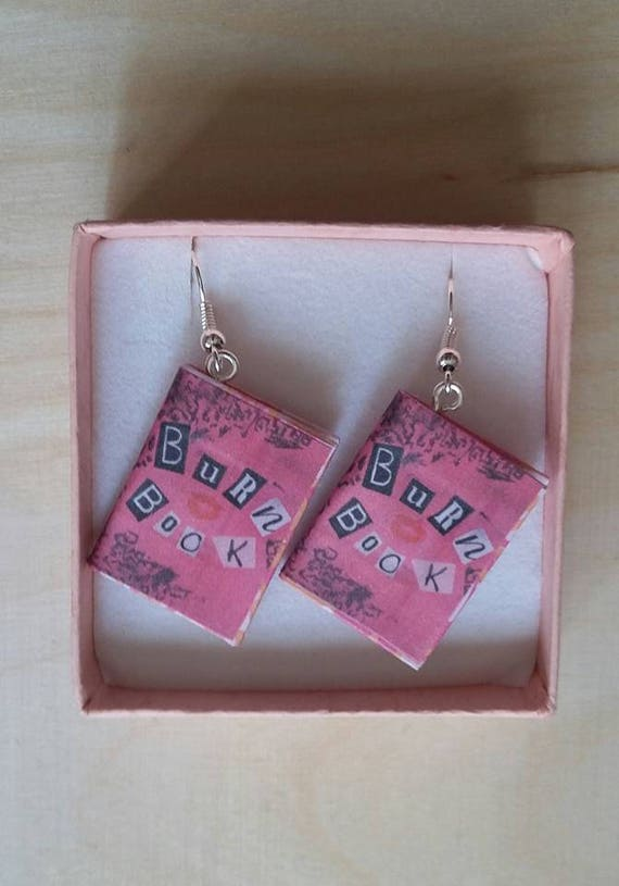 Book Earrings / Burn Book Earrings / Mean Girls Earrings / Burn Book  Jewelry / Mean Girls Jewelry / Handmade Book Earrings / Gift for Her