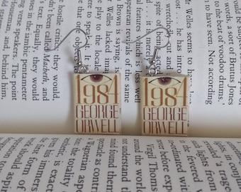 1984 Book Earrings - George Orwell - Book Jewelry, 1984 Earrings - Science Fiction - Science Fiction Jewelry - Big Brother