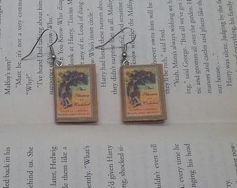 Alice in Wonderland Book Earrings - Handmade Book Jewelry - Handmade Book Earrings - Mini Book Jewelry - Handmade Mini Book Earrings