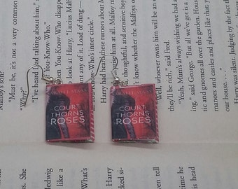 A Court of Thorns and Roses Earrings - Book Jewelry - Handmade ACOTAR Book Earrings - Mini Book Jewelry - Sarah J. Maas Mini Book Earrings