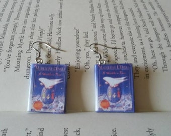 A Wrinkle in Time Book Earrings - Book Jewelry - Handmade Book Earrings - Mini Book Jewelry - Handmade Mini Book Earrings