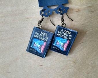 A Tree Grows in Brooklyn Book Earrings - Book Jewelry - Handmade Book Earrings - Mini Book Jewelry - Handmade Mini Book Earrings