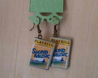 Mini Sound of Music Playbill Book Earrings - Book Jewelry - Handmade Book Earrings - Mini Book Jewelry - Handmade Playbill Book Earrings