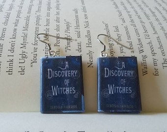 A Discovery of Witches Earrings / Gift for Her / Book Lover Gift / Book Jewelry / Book Earrings / Librarian Gift / Teacher Gift / Mini Book
