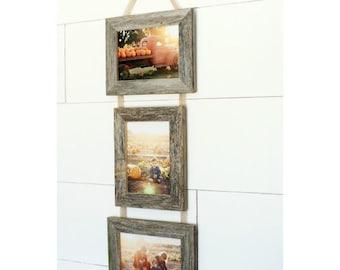5x7 Triple Barnwood Hanging Collage Frames - 2 Landscape, 1 Portrait