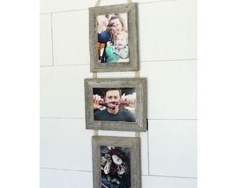 5X7 Three Barnwood Frames on Ribbon - 2 Portrait and 1 Landscape