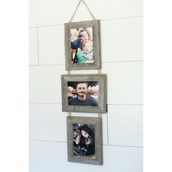 5x7 Triple Barnwood Hanging Frame 2 Portrait 1 Landscape Etsy