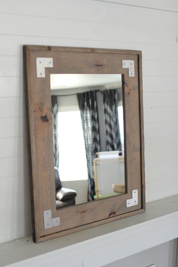 Industrial Mirror - Rustic Wall Mirror - Farmhouse Bathroom Mirror -  Montana Style