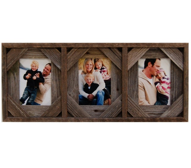 Collage Picture Frame Barnwood 3 Openings With Cornerblocks Etsy