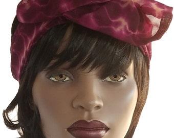 Chiffon Headband Scarf Tie Dye Burgundy Dreadlock Headband Wide Headband Handmade