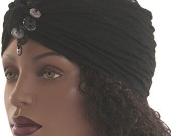 Black Luxe Dangle Button Jersey Knit Headband Women Headband Dreadlock Headband Dreadlock Headband Handmade
