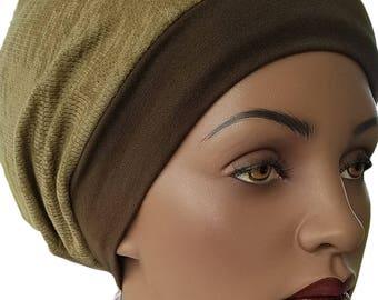 Green Brown Huggee Locks™ Beanie Beanie Cap Hat Cotton Knit Self Lined Tam Slouchy Beanie Jewish Beanie Tichel Hat Hijab Beanie Handmade