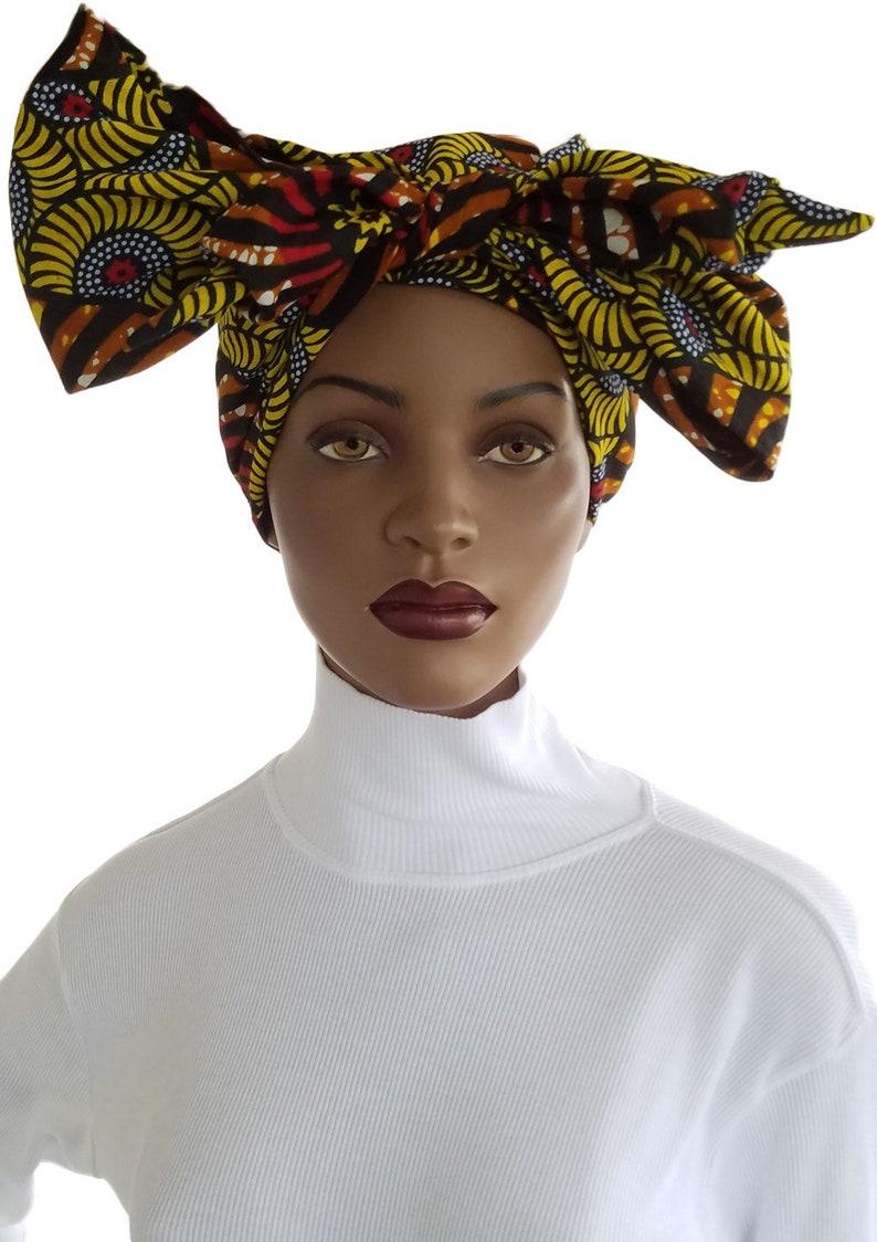 Yellow Black Turban Hair Turban Headbands & Turbans image 0