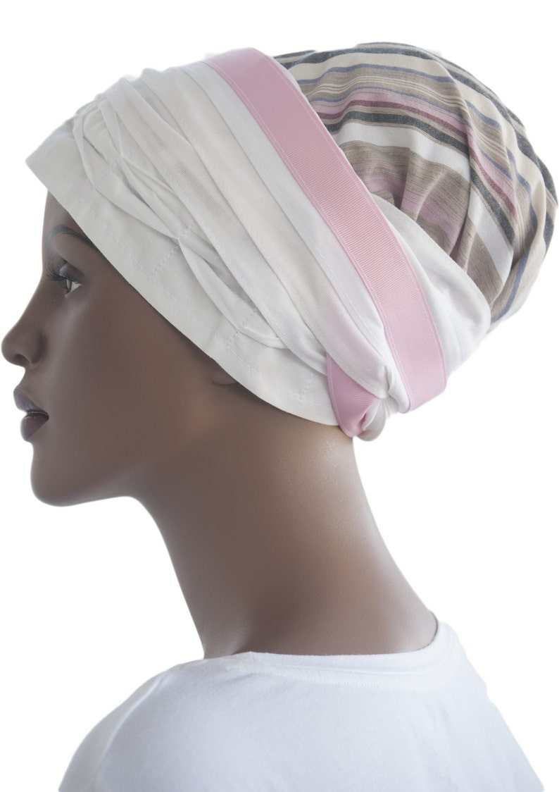 Cotton Tichel Scarf Stripes Pleated Head Wrap Headcovering Loc image 0