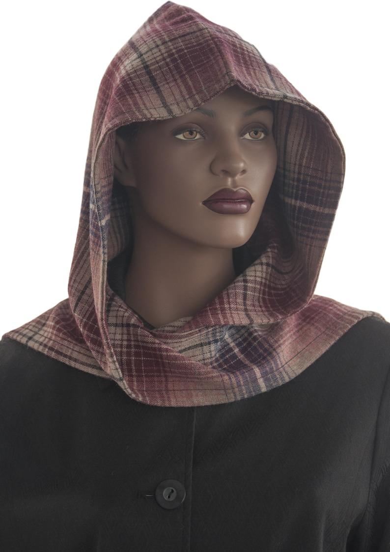 Stripes Wine Tan Black Plaid Wool Blend Hooded Scarf Hood Wrap image 0