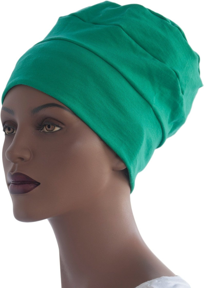 Green Beanie Hat Chemo Hat Chemo Tri Band Hat Cotton Knit image 0