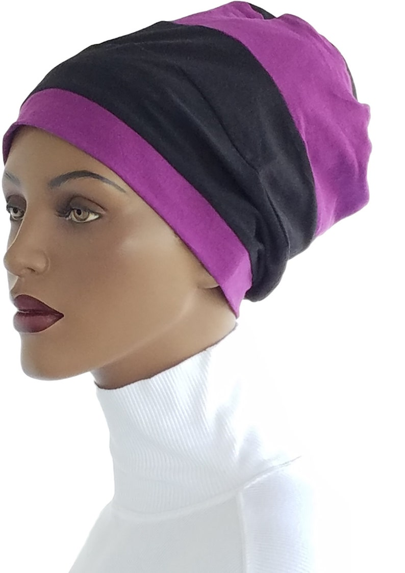 Hat Four Band Cotton knit Violet Black Chemo Hat  Headcovering image 0