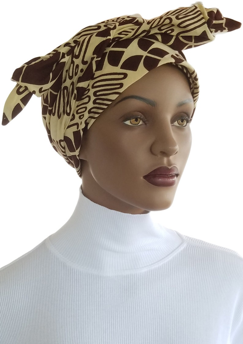 African Head Wrap BUILT IN HAT Satin Lined Genuine Angel image 0