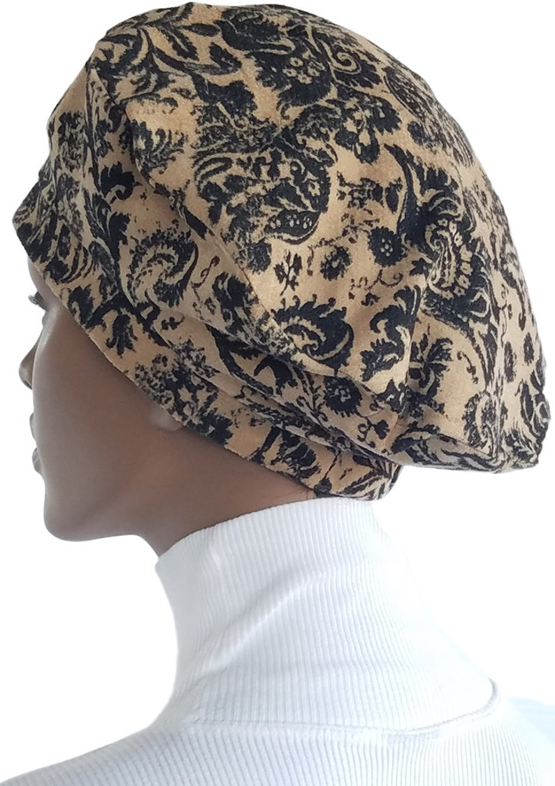 8b7c1bbfb9be2 Tan Black French Beret Distressed Textured Print Tam Hat Lined
