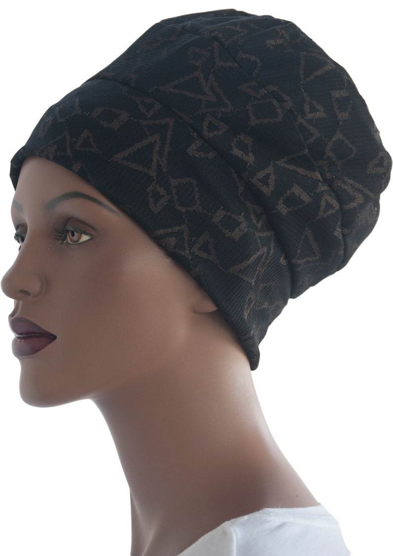 Mesh Knit Black Brown Lined Hat Three Band Hat Warm Hat Chemo image 0