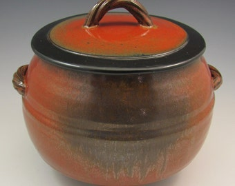 Large Stoneware Casserole with Ash and Red Iron Glaze