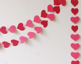 Wedding Garland - Party Decoration - Heart Garland - Wedding Decor - Paper Decoration - Valentine - Photo Prop - Custom Colour/ Length
