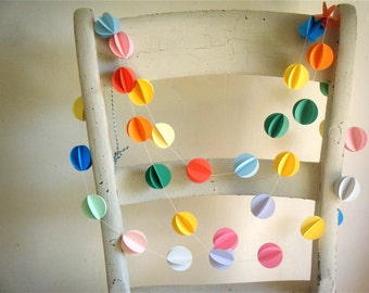 Pom Pom Paper Garland - 3D Garland - Party Decor - Paper Decoration - Birthday Decoration -  Choose Your Length