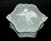Schafer Vater Jasperware Box, Bisque Porcelain Cameo, Bas Relief Cherubs, Vintage Collectible Trinket Box