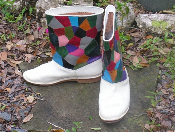 Patchwork Leather Boots, Rainbow Colors on White,