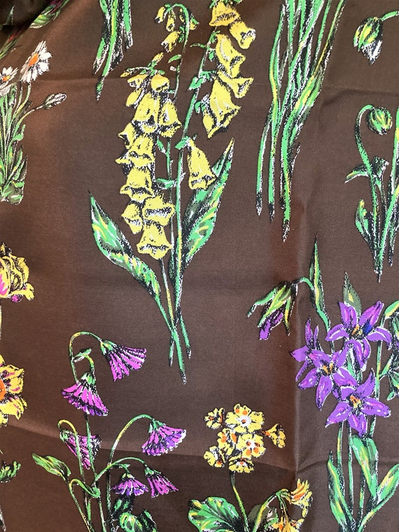 Gucci Silk Scarf, Colorful Flowers, Thistle Antel… - image 4