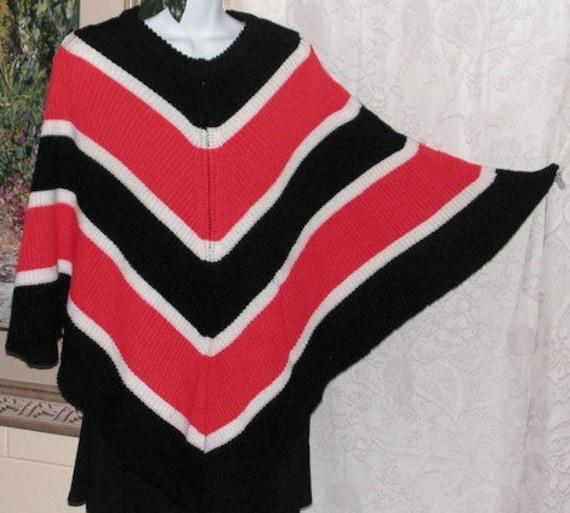 Chevron Knit Pullover Poncho, Red Black White Stri