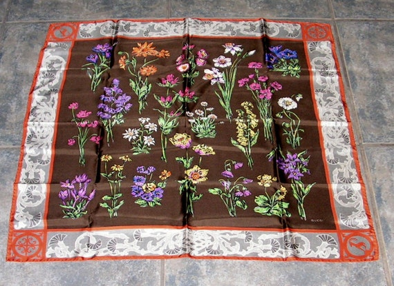 Gucci Silk Scarf, Colorful Flowers, Thistle Antel… - image 1