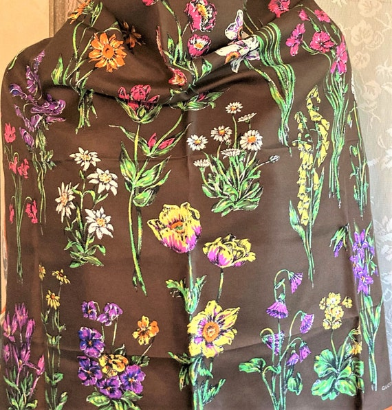 Gucci Silk Scarf, Colorful Flowers, Thistle Antel… - image 2