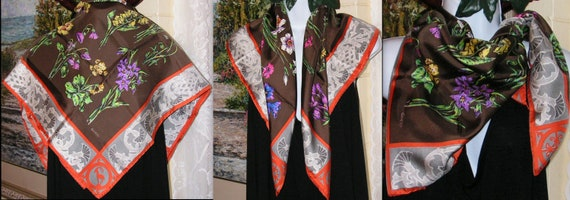 Gucci Silk Scarf, Colorful Flowers, Thistle Antel… - image 7