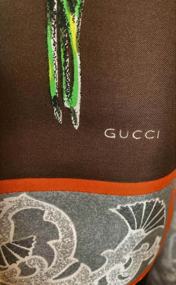 Gucci Silk Scarf, Colorful Flowers, Thistle Antel… - image 5