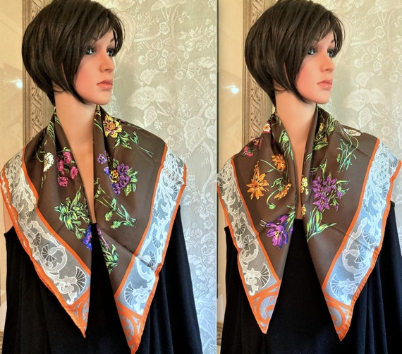 Gucci Silk Scarf, Colorful Flowers, Thistle Antel… - image 6